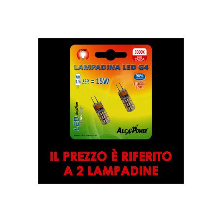Alcapower blister 2pz led bispina g4 12v 1 5w 3000 k for Lampadine a led g4