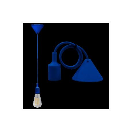 Pendente Soffitto con cavo+portalam. E27 Blu