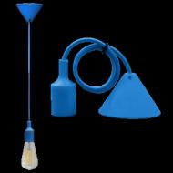 Pendente Soffitto con cavo+portalam. E27 Azzurro