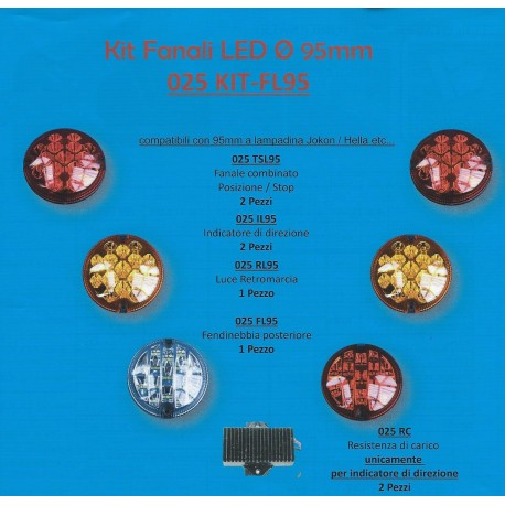 Kit 6 fanali led 95 mm + 2 resistenze