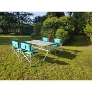 Set 4 sedie regista e tavolo in alluminio