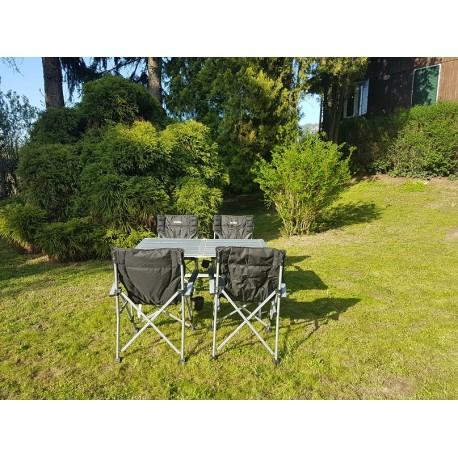 Set 4 sedie pieghevoli e tavolo in alluminio