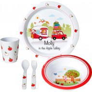 Set Molly Kids Girl, set stoviglie in melamina per bimbe